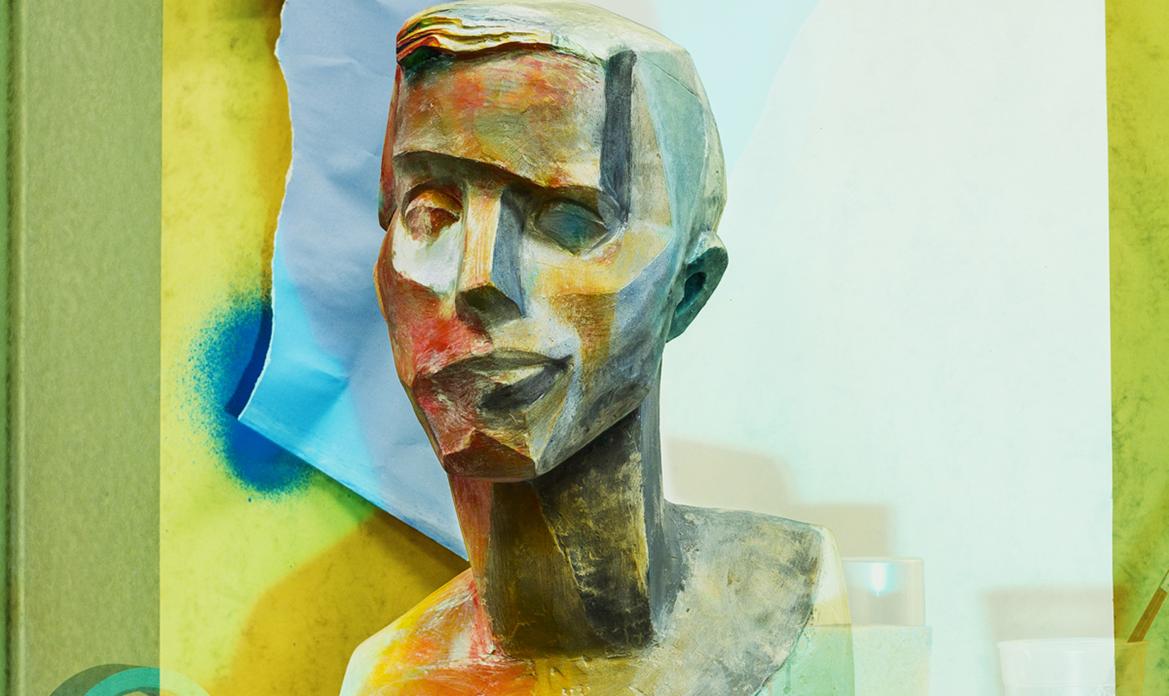Painted-plaster-head-Self-portrait-of-a-man-in-orangedetail-2015-©-Peter-Puklus