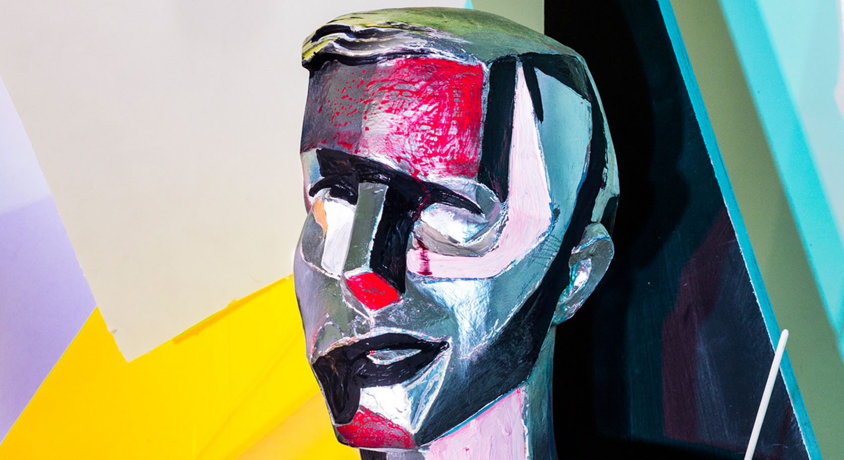 Painted-plaster-head-Self-portrait-of-a-man-in-reddetail-2015-©-Peter-Puklus