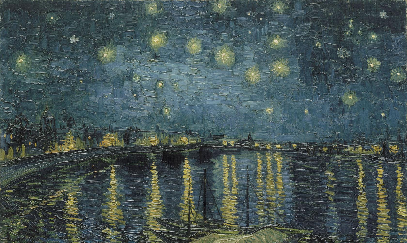 Vincent-van-Gogh-Sterrennacht-over-de-Rhône-detail-1888-Musée-d'Orsay