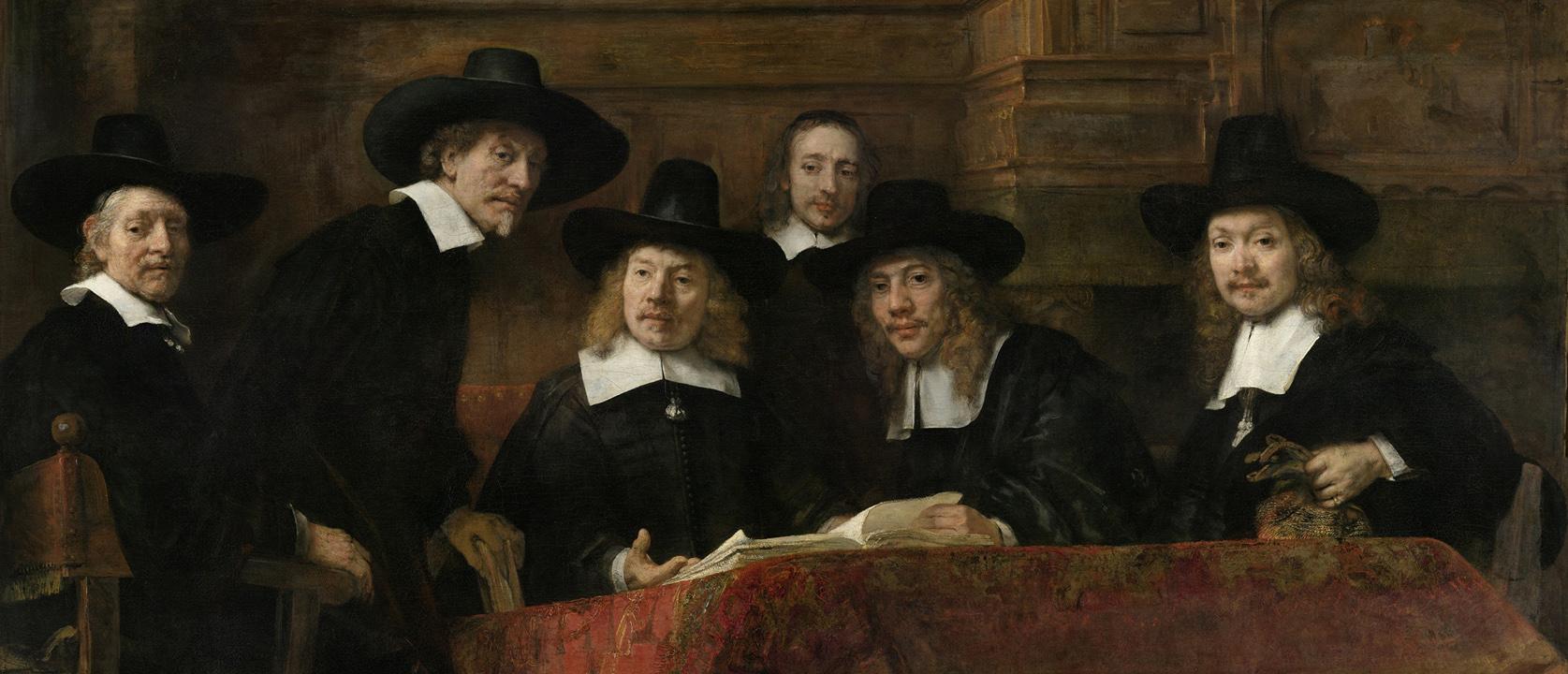 Rembrandt-van-Rijn-De-waardijns-van-het-Amsterdamse-lakenbereidersgilde-bekend-als-De-Staalmeesters-1662-sl